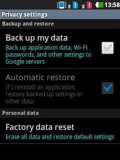 Factory data reset LG Optimus Chic, Optimus Sol and similar series