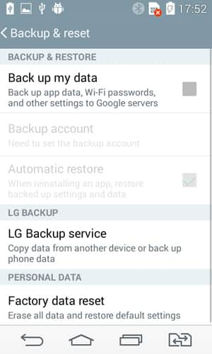 Backup on LG G3, G4, G5, G7