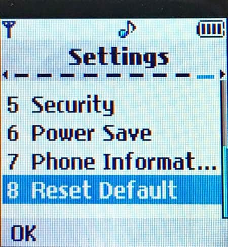 Reset settings on LG Chocolate, Prada, Shine Style